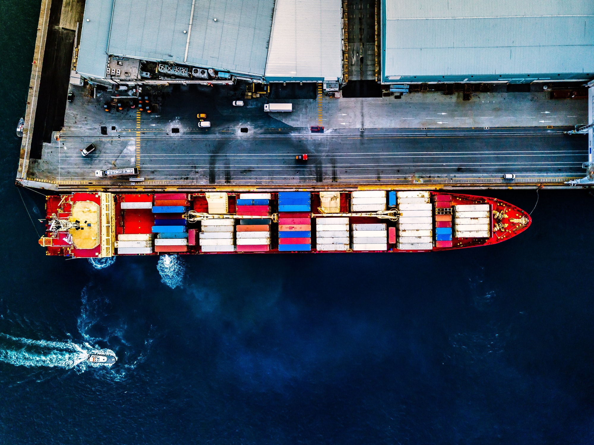 Aerial view of container ship at sea port
